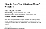 """""""How to teach your kids about money"""" workshop"""